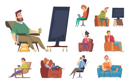 Sedentary characters. Lazy lifestyle people sitting reading chatting in smartphone watching tv unhealthy person with devices vector. Illustration lazy on sofa, relaxation person, cartoon human Illustration