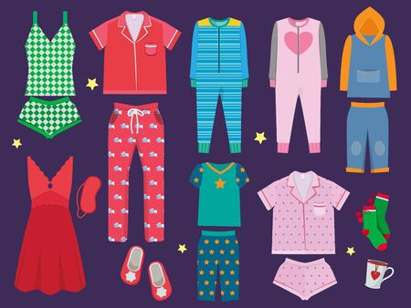 Pajamas set. Sleeping clothes collection for children and adults sleepwear textile vector colored cartoon illustration. Fashion clothes for bedtime, textile apparel sleepwear