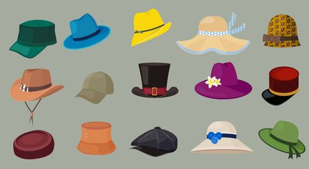 Hats. Male and female fashion clothes retro cap elegant style hipster wardrobe accessories vector cartoon hats. Illustration hipster wardrobe, hat leather fashion, collection headdress illustration Banque d'images - 133932591