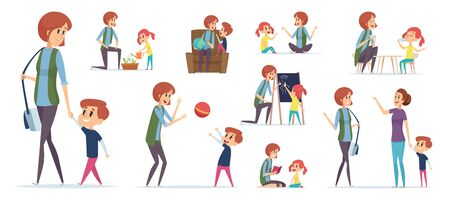 Nanny for kids. Modern babysitter teaching preschool childrens and playing games vector characters isolated. Nanny or babysitter play game with child illustration Ilustración de vector