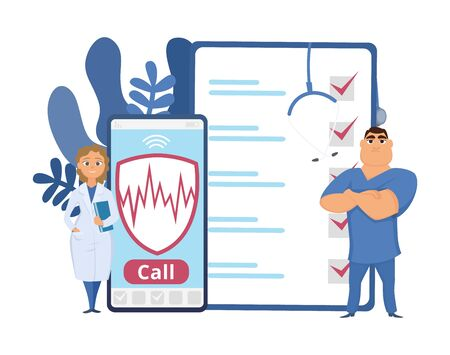 Healthcare concept. Health insurance vector illustration. Cartoon doctors, phone, mobile insurance help. Medical insurance healthcare, care and aid
