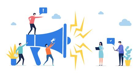 Promotion concept. Target marketing, social network advertising vector illustration. Flat tiny people with laptops and megaphone. Illustration business marketing loudspeaker, promotion advertising
