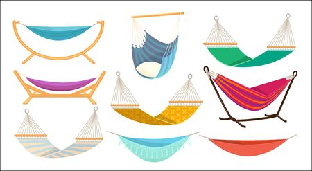 Hammock. Relax time in outdoor decorative colorful fabric hammock hanging swing comfortable rest place vector. Illustration hammock swing, relax comfortable swinging bed Ilustrace