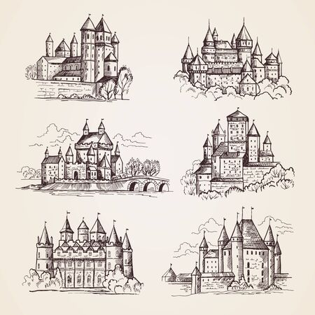 Castles medieval. Old tower buildings vintage architecture ancient gothic castles vector hand drawn illustrations. Town tower, sightseeing building, castle famous