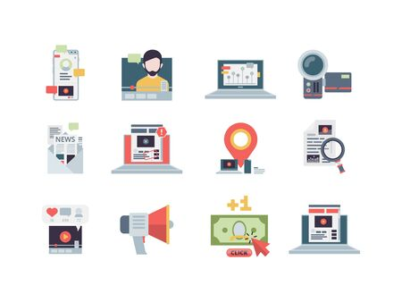 Marketing concept icon. Management of content email digital business blogging strategy performance writing vector symbols flat. Social marketing management, content blog and vlog illustration