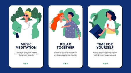 Relax banners. Happy people relaxing meditation pamper themselves. Relax theme for mobile app vector template with flat characters. Illustration relaxation people, relax lifestyle Illustration