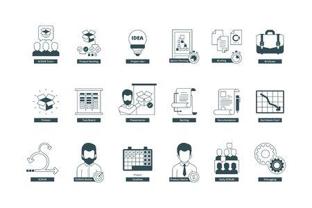 Agility icons. Scrum methodology professional meeting conference master agile vector symbols collection. Illustration agile methodology, meeting conference and development idea Ilustração