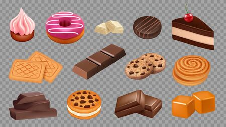 Sweets collection. Realistic cookies, chocolate, cake, soft caramel vector set. Illustration cake food, dessert pastry bakery, cookie and candy