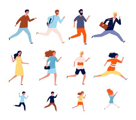 Running persons. Sport casual and business people in different costumes action poses jogging and jumping male female vector runners. People run competition, race exercise lifestyle illustration 向量圖像