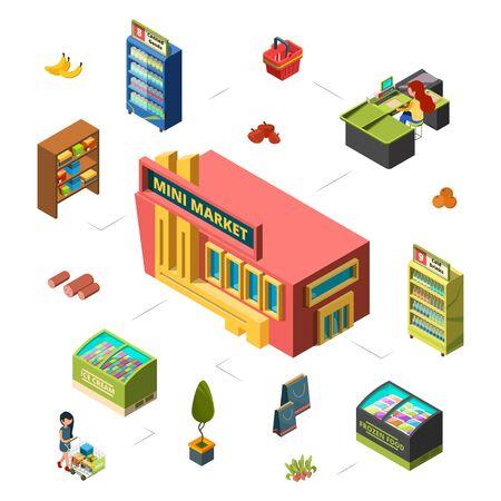 Mini market concept. Grocery store isometric vector illustration. Market building, counters, customer. Shop market sale, commercial supermarket