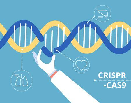 Concept Crispr cas9. Génie biochimique recherche génétique médicale mutation biologie ADN modification vecteur arrière-plan. Gène d'hélice d'illustration, ingénierie médicale d'expérience de crispr Vecteurs