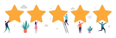 Rating concept. Survey results, feedback vector illustration. Five stars with flat tiny people. Five star feedback from customer, rate consumer Çizim