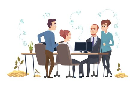 Effective business team. People group create a startup. Investors are discussing the project vector illustration. Teamwork startup management, corporate professional employee  イラスト・ベクター素材