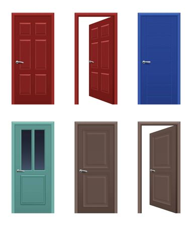 Realistic doors. Open and closed apartment entrance doors different colors vector pictures. Interior house and office door illustration
