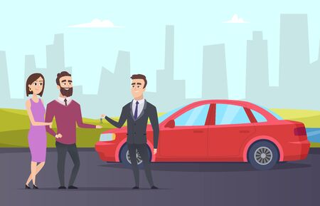 Rent car. Couple rents a car from rental agent. Vector cartoon character people and city landscape. Illustration agent auto rent, car rental
