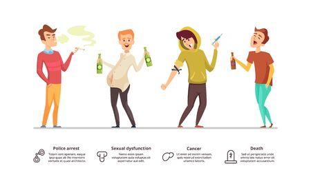 Adicción peligrosa. Peligro de alcoholismo, drogas, fumar ilustración. Personajes vectoriales masculinos de adicción. Hábito de adicción, humo y drogas