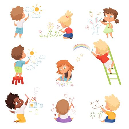 Kids artists. Childrens playing and drawing painting with colored crayons on paper vector funny cute characters. Illustration drawing cartoon, playing children Foto de archivo - 134235889