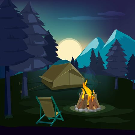 Night campfire. Wooden landscape with tent and fireplace with big burned flame lighting outdoor vector background. Campfire night, tent outdoor illustration