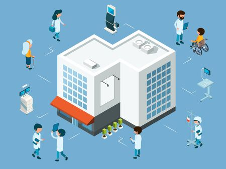 Hospital concept. Isometric doctors, medical equipment and patients. Modern hospital vector illustration. Building hospital architecture, emergency and medicine service