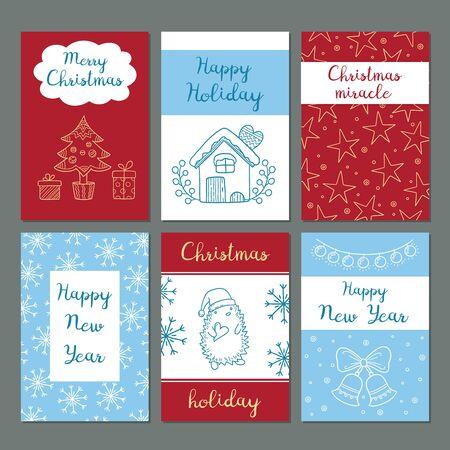 Cartoline di Natale. Biglietti di auguri per feste invernali, immagini carine, fiocchi di neve, personaggi, regali di Babbo Natale, vestiti, vettore, scarabocchi, stile hipster. Cartolina di Natale invernale con regalo e illustrazione di auguri