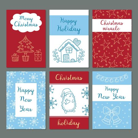 Christmas cards. Winter celebration greetings cards cute images snowflakes characters santa gifts clothes vector doodles hipster style. Winter christmas card with gift and greeting illustration