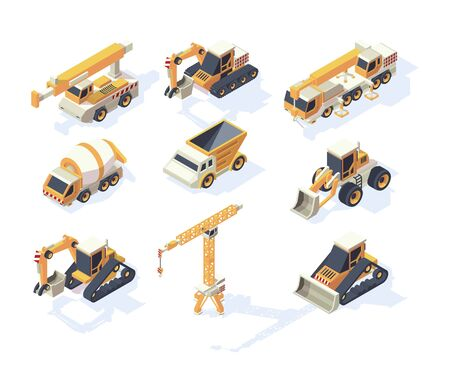Vehicle constructions. Big cars truck van crane excavator transporter 3d machinery for builders vector isometric collection. Illustration isometric transport, 3d cargo transportation industrial Illustration