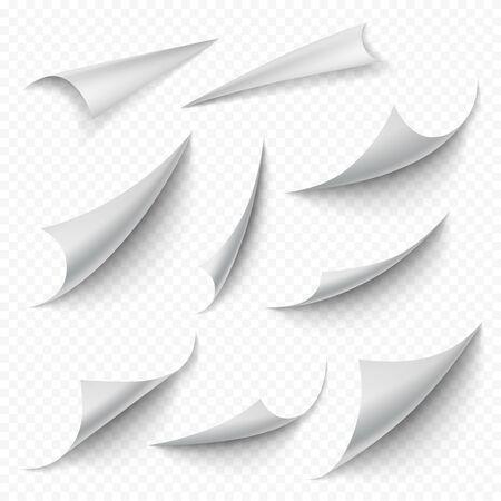 Gewellte Ecken. Leeres Buch leere gebogene Seiten faltet sich abblätternde Blattaufkleberkanten vektorrealistische Sammlung. Leere Seite weiß machen, Blatt leer rollen