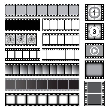Movie tape. 35mm photo strip film camera frames picture vector collection. Cinema reel frame template, photo strip image film, video and media illustration