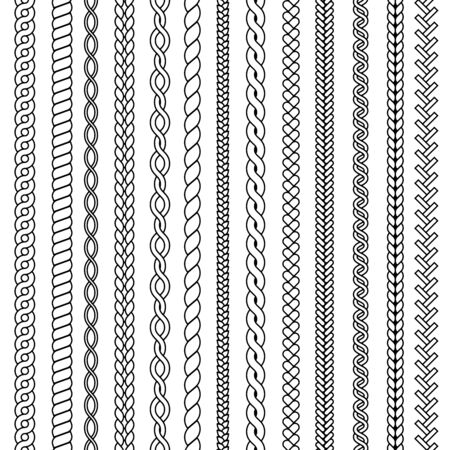 Plaits and braids. Waves knitted drawing ornamental structures textile vector seamless collection. Pattern braid and thread, string plait illustration