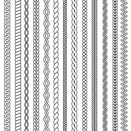 Warkocze i warkocze. Fale z dzianiny rysunek struktur ozdobnych wektor bezszwowa kolekcja włókienniczych. Wzór warkocza i nici, ilustracja warkocza sznurkowego