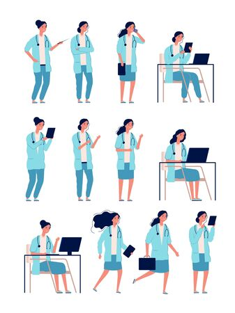 Female doctor. Woman medical worker health manager good specialist healthcare hospital person vector characters. Illustration hospital woman staff in uniform, specialist team medical