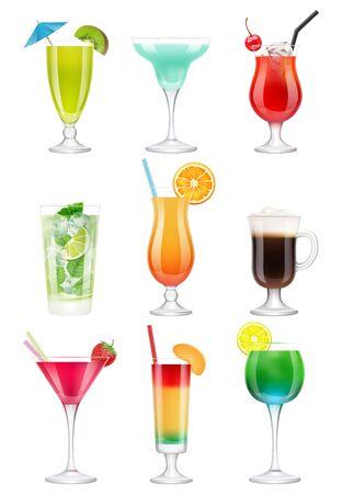 Cocktails réalistes. Boissons alcoolisées dans des verres jus tequila menthe vodka liqueur gin tonic vector images de cocktail réalistes. Cocktail réaliste, mojito et menthe, illustration de parapluie martini Vecteurs