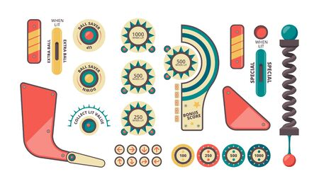 Pinball elements. Buttons coins plunger decorative shadows and forms for game machine vector pinball set. Machine arcade play, bumper and slingshots fot pinball illustration
