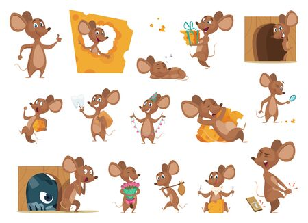 Mouse cartoon. Small mice in action poses lab animals friendly mascot pets vector characters. Illustration mouse eating cheese and situation with cat