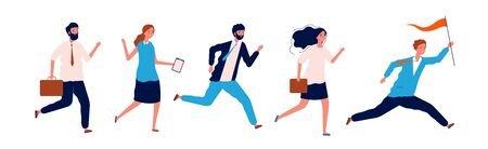 Business people running. Leader couching manager walking with team holding red flag vector leadership concept. Illustration leadership business, leader success with flag Illusztráció