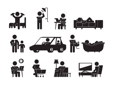 Daily lifestyle icon. Man or woman daily routine morning waking up eating computer working home night sleeping vector silhouettes. Routine person, sleep and work illustration Illustration