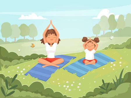 Family yoga. Mother and daughter making exercises outdoor in the park yoga fitness training skills vector cartoon background. Daughter with mother do yoga, sport and fitness Illusztráció