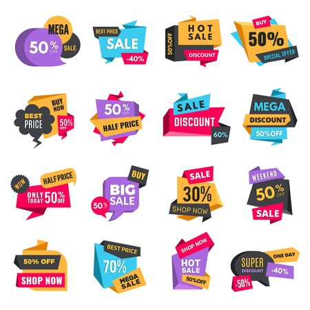 Discount tags. Product ads special offer badges low prices promotional labels hot sale best vector shopping colored stickers. Discount price tag, banner label promotion advertising illustration