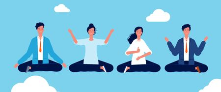 Group yoga. People relaxing and meditation in lotus pose avoid stress vector concept background. Illustration yoga pose character lotus, meditation and relaxation exercise