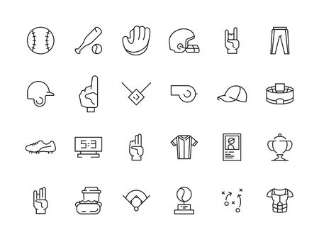 Sport baseball icons. Game symbols gloves field ball baseball bat vector. Ball and field for baseball, sport glove and bat illustration Ilustrace