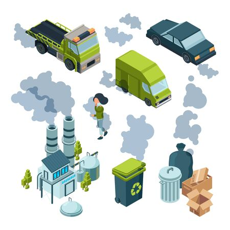 Air pollution isometric. Factory bad environment chemical garbage urban vehicle trash vector isometric. Illustration pollution air and smokestack