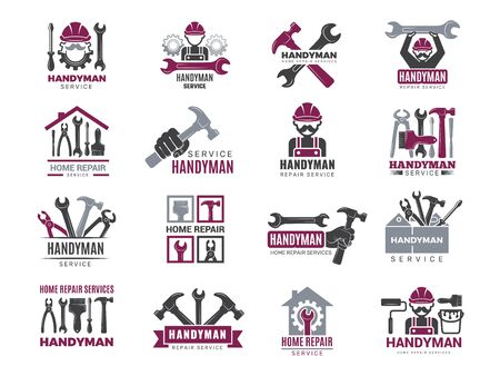 Handyman badges. Builders and workers contractor symbols technicians vector logotypes for handyman. Illustration carpenter handyman logo and emblem 免版税图像 - 134975820