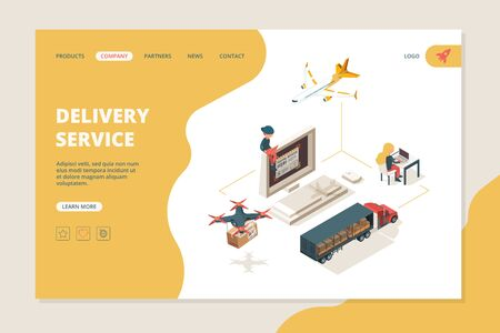 Worldwide delivery. Drones smart delivery warehouse shipping sourcing vector isometry landing page layout. Shipping delivery service, transportation logistic and cargo illustration