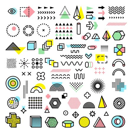 Memphis design. Modern funkie graphic fashion forms geometrical shapes dots lines triangles circles vector templates. Illustration memphis geometric triangle and trendy element shape Illusztráció