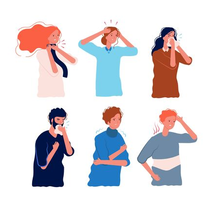 Flu symptoms people. Characters of illness fever ache in the body sore throat pressing head dizziness chills flu prevention vector flat. Illustration sick and fever, ill and disease symptoms Stock fotó - 134618407