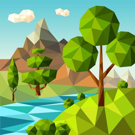 Low poly landscape. Nature green trees plants clouds sky outdoor field flowers vector cartoon stylized background. Low environment landscape, cloud and mountain illustration
