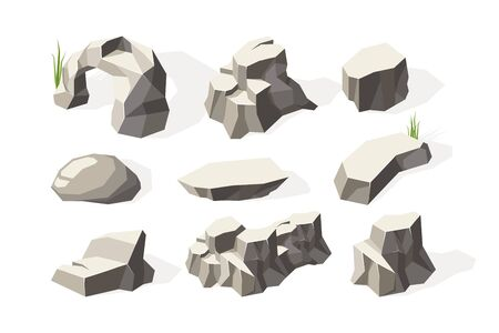 Stones isometric. Broken architecture rocks mineral elements stones surface vector collection. Illustration natural geology, broken stone material Ilustrace