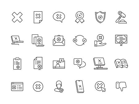 Rejected symbols. Guarantee or contract refuses judge canceled stamp vector rejected icons collection. Illustration rejection and delete cross icons set Illusztráció