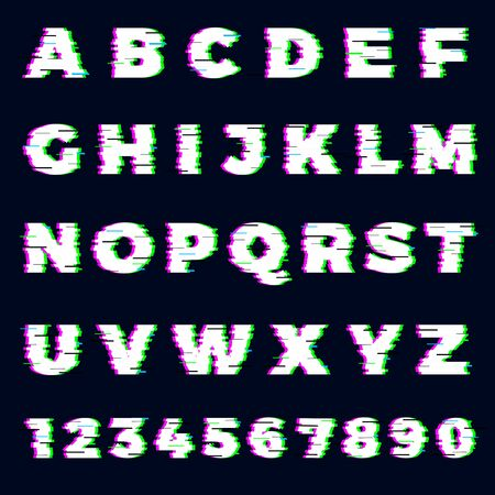 Glitch font. Destroyer alphabet letters dynamic screen effect gaming typography font vector template. Glitch alphabet font, typeface abc digital destroyed illustration Illustration