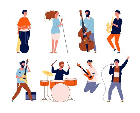 Music band characters. Rock group musicians singing and playing at instrument performing stage vector background. Rock concert, musical band, musician group performance illustration